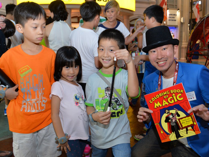 Roving magic performance at Kidzania Singapore.